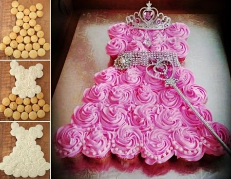 Sweet Princess Cupcake Cake Tutorial as featured on TheWhoot Princess Cupcake Dress, Princess Cupcakes, Cupcake Dress Cake, Cupcake Cupcake, Princess Theme, Cupcake Birthday Cakes, Butterfly Cupcake Cake, Cinderella Cupcakes, Baby Shower Cupcake Cake