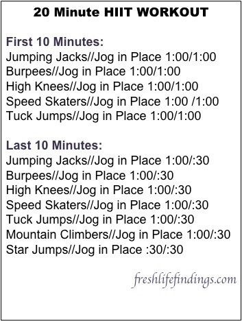 20 minutes is a whole lot more realistic for me! HIIT workout. Starting now!