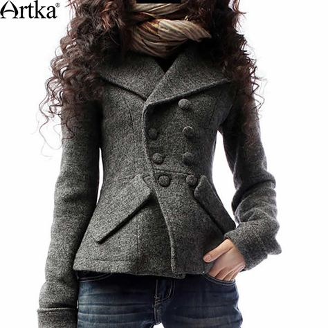 Grey wool women jacket wide lapel short women coat Sprign Autumn Winter - Stay warm this winter with Women's Coats & Jackets while looking sexy