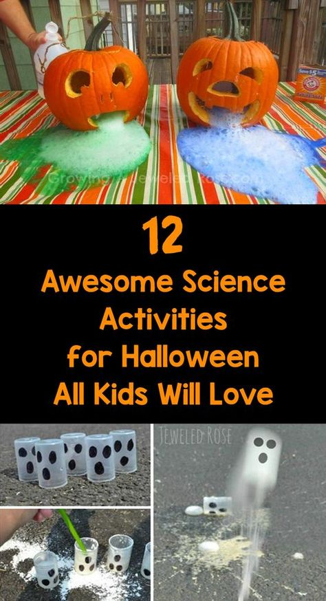 12 Awesome Science Activities for Halloween All Kids Will Love Halloween is only weeks away! Try these super fun science experiments in your classroom to get in the Halloween spirit. Halloween Science, Halloween Activities For Kids, Holiday Activities, Classroom Activities, Halloween Themes, Halloween Fun, Fun Activities, Kindergarten Halloween Party, Childrens Halloween Party