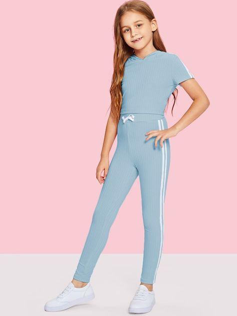 Girls Stripe Side Ribbed Knit Hoodie and Pants Set -SheIn(Sheinside)