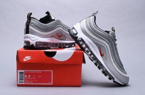 Nike Air Max 97 Og Qs Silver Bullet Metallic Silver 884421 001 Black Friday  Women s Men s Casual Shoes 96bafec93