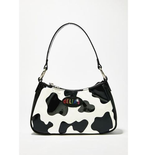 dELiA*s by Dolls Kill Animal Behavior Shoulder Bag cuz you don't know how to act babe. Stay moody with this dope mini patent shoulder bag that has a cow print all ova, a lil logo patch on the front and a top zip closure. Austin Powers, Mode Vintage, Vintage Bags, Gucci Handbags, Purses And Handbags, Cheap Handbags, Luxury Handbags, The Nanny, Baby T Shirts