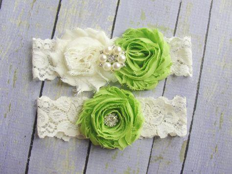 83a9b16d040 Green Garters Ivory Lace Garter Garter Belt Apple by SkyeBridal