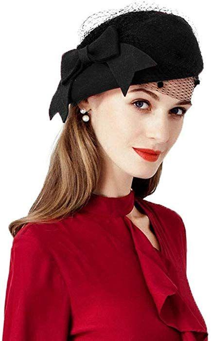 Women Fascinator Bowknot Wool Derby Hat Wedding Banquet Kentucky Derby Church Hat