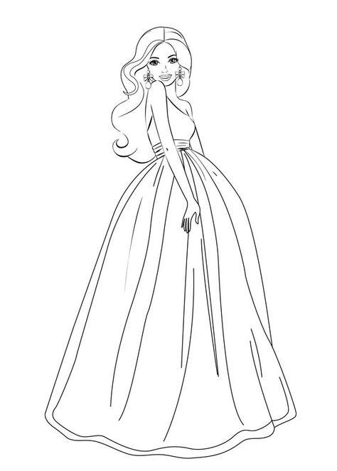 Girl in Dress Coloring Page   Ruha-mintatervezés rajzra   Pinterest ...