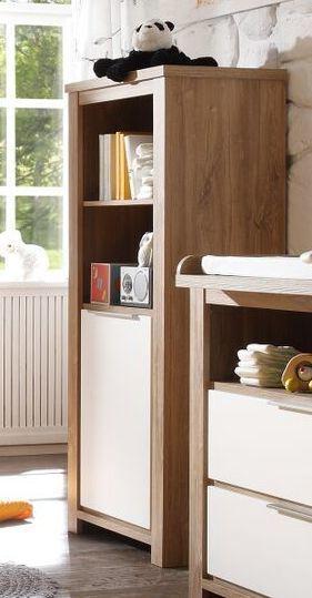 Beistellschrank Stirling Oak  Anderson Pinie Weiss Woody 91-00578 - wohnzimmer in weis und braun