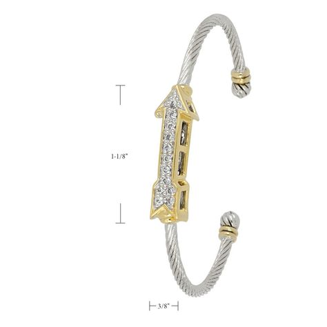 """Free shipping on all orders over $150. Made with rhodium and gold. Guaranteed for life. Celebration Petite Pavé Arrow of Love Wire Cuff Bracelet by John Medeiros Jewelry Collections Fun symbols of love, hope and personality. Center Motif: 1-1/8""""L x 3/8""""W"""