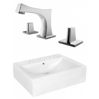 Twins Vitreous China 16 Wall Mount Bathroom Sink Rectangular Sink Bathroom Wall Mounted Bathroom Sinks Sink
