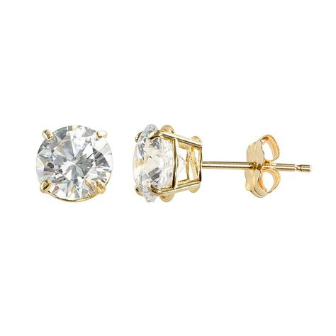 Renaissance Collection 10k Gold Cubic Zirconia Stud Earrings Women S Yellow Stud Earrings Earrings