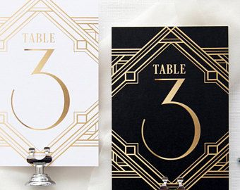 Art Deco Table Numbers Table Numbers Template Printable