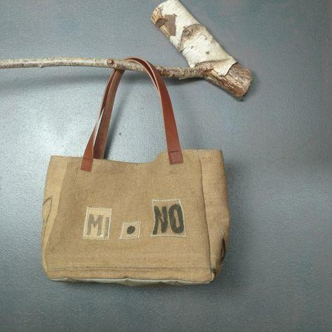 bd64f786fb Petit sac ou cabas en lin enduit et authentique toile de jute (anciens sacs  à grains) création originale et unique made in France de la boutique ...