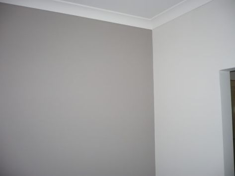Dulux Sheer Hose (darker) and Pebble grey (half strength), love this for our hallway/landing!
