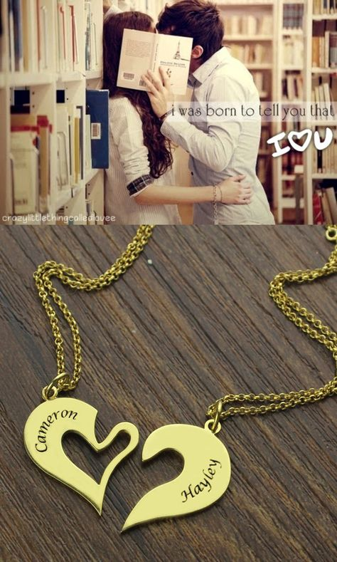 e253c38d43 Double #Name #Heart #Friend #Necklace #Couple #Necklace #Set 18K Gold  Plated - Share your Love with this Sterling Silver Couple's Breakable Heart  Name ...