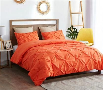 Orange Dorm Room Bedding One Of A Kind Stylish Twin Extra Long Comforter With Pretty Pin Tuck Design In 2020 Dorm Comforters Comforter Sets Dorm Room Bedding