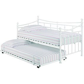 Olivia White Metal Trundle White Trundle Bed Day Bed Frame