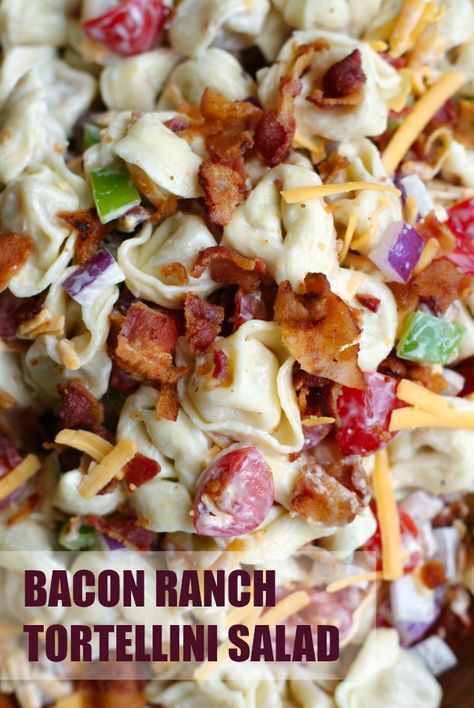 This Bacon Ranch Tortellini Salad is a party perfect pasta salad that pairs cheese-filled tortellini with fresh veggies, cheddar cheese, cool ranch dressing, and lots of crisp crumbled bacon! SeeTheLite AD