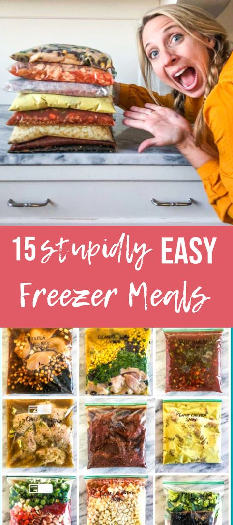 Sometimes you don't have time to make 50 freezer meals in a day, no matter how nice that can be! So I've rounded up 15 of some of my easiest freezer meals that are good on time and money! Make Ahead Freezer Meals, Freezer Cooking, Crockpot Frozen Meals, Easy Freezable Meals, Easy Meals To Make, Meal Prep Freezer, Freezer Meal Recipes, Meals To Freeze, Easy Kids Meals