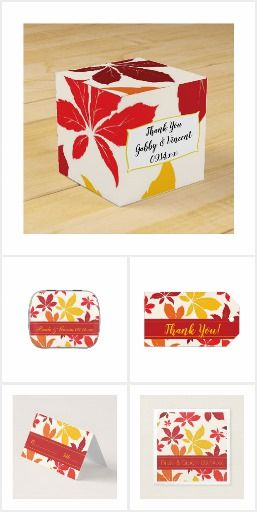 Personalize the Bright Fall Leaves Wedding Reception Products for your September, October or November marriage reception or bridal shower. Customize party favors and favor tags, disposable paper napkins, coasters, table numbers, menus and place cards. Each custom party supply features red, orange and yellow leaves with a white background. #fallweddingfavors #autumnwedding #favortags #fallweddingmenus #fallleaveswedding