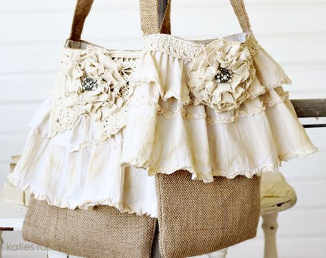 Burlap Totes with Vintage Ruffles