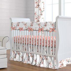 Light Coral Cherry Blossom Crib Bedding Baby Girl Crib Bedding