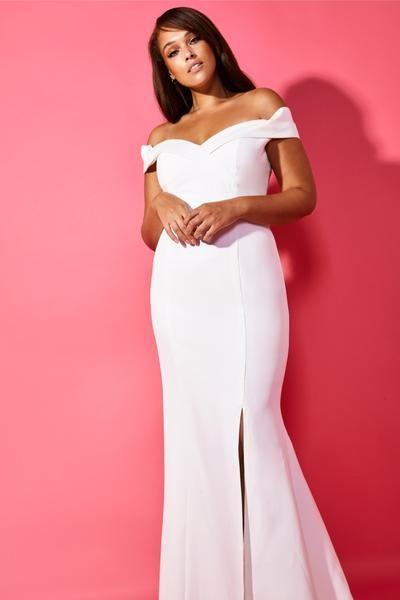 Bella Bardot Maxi Dress With Thigh Split And Train Off Shoulder Gown Bella Dresses Dresses