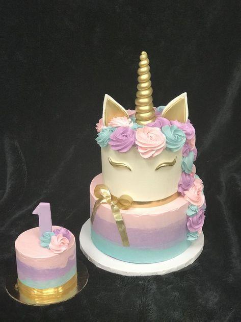 Babys 1st Birthday unicorn cake with coordinating smash cake