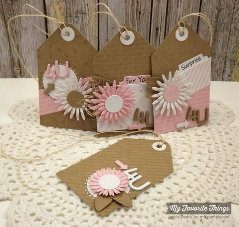 Confetti Background, Diagonal Stripes Background, Happy Birthday Background, Gerbera Daisies Die-namics, Layered Leaves Die-namics, Royal Leaves Die-namics, Tag Builder Blueprints 1 Die-namics - Jackie Pedro #mftstamps