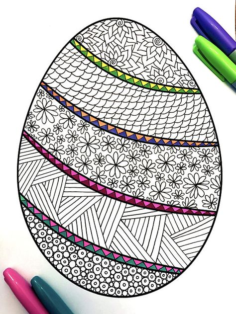 banded easter egg pdf zentangle coloring page  art