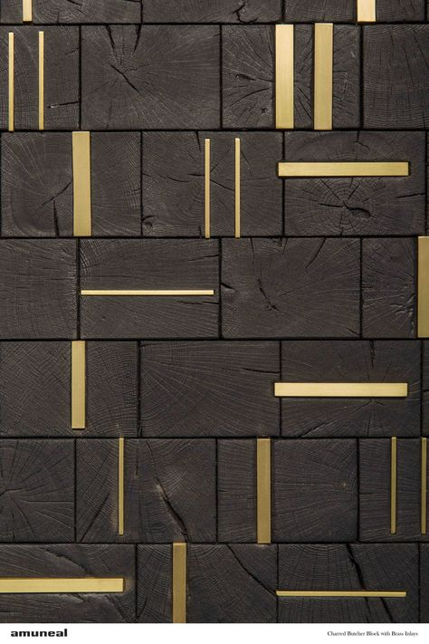 Feature Wall   Charred Butcher Block with Brass Inlays