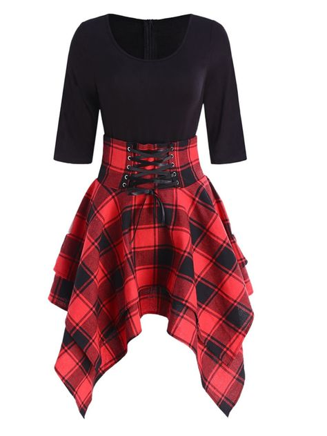 Teen Fashion Outfits, Edgy Outfits, Cute Casual Outfits, Style Casual, Fashion Women, Dress Casual, Red And Black Outfits, Fashion Dresses, Cheap Fashion