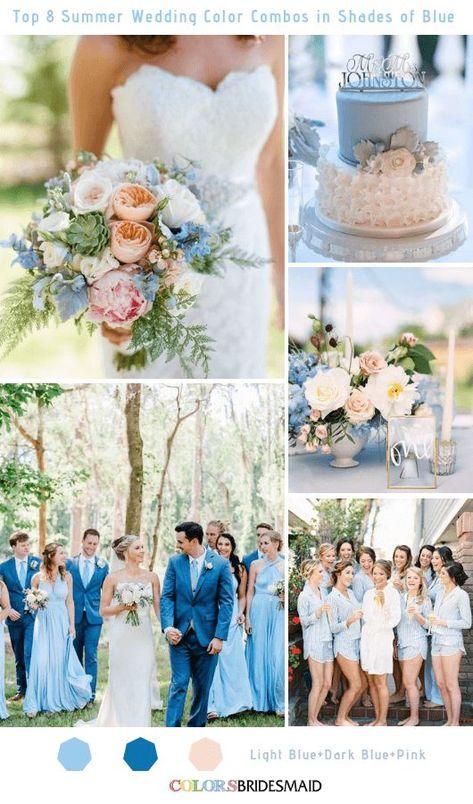 Top 8 Summer Wedding Color Combos in Shades of Blue for 2019 Light Blue colsbm bridesmaids weddings weddingideas summerweddding bluewedding 488499890832570451