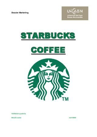 Starbucks Analysis Starbucks Dossier Sciences Economiques