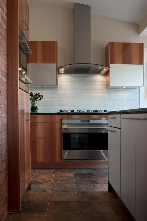The Ceramic Kitchen Floor Tile Dark Brown Double Color