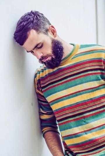 Purple hair and beard.