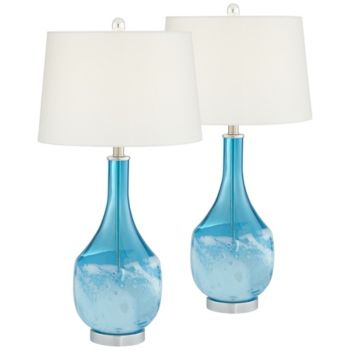 Pacific Coast Blue North Glass Table Lamps Set Of 2 Reviews Home Macy S In 2020 Glass Table Lamp Lamp Sets Table Lamp Sets