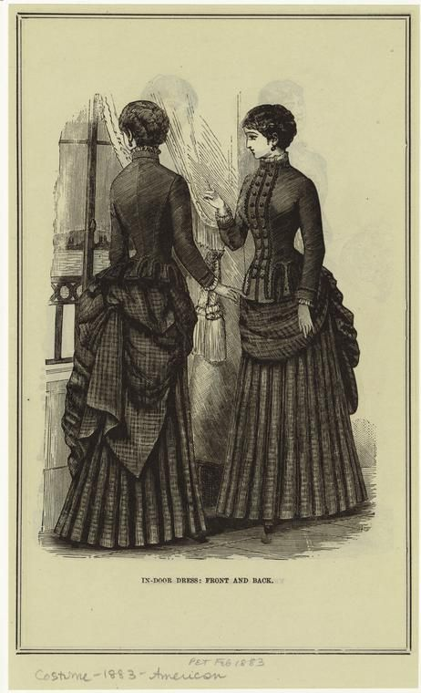 In Door Dress Front And Back Historical Costume Historical Fashion 1880s Fashion