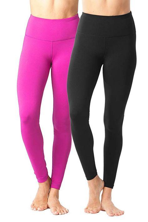 491f68d5497e1f 90 Degree By Reflex - High Waist Power Flex Legging - Tummy Control Black  and Magenta - Large