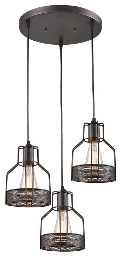 3 Light Dining Room Pendant Rustic Oil Rubbed Bronze