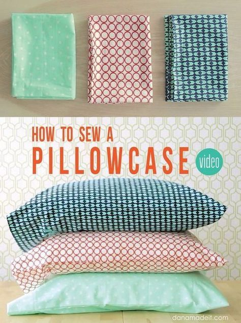Quick & Easy Sewing Projects for Beginners Simple Sewing Pillow Cases. A pillowcase is an easy sewing project for beginners! You can make a set for your own or use as a gift a loved one. Easy Sewing Projects, Sewing Projects For Beginners, Sewing Hacks, Sewing Tutorials, Sewing Crafts, Sewing Tips, Diy Crafts, Sewing Basics, Sewing Machine Projects