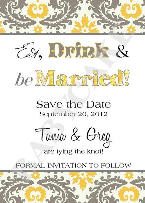 Yellow and grey shaded save the date