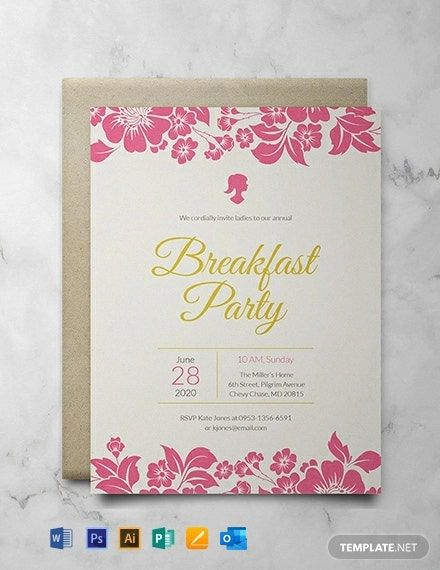 Ladies Breakfast Invitation Template Free Pdf Word Psd Apple Pages Illustrator Publisher Outlook Rsvp Wedding Cards Wedding Invitation Card Design Invitations