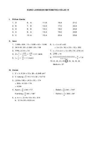 Kumpulan Soal Matematika Sd Beserta Jawabanya