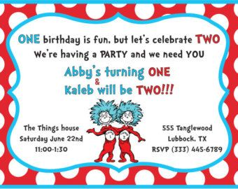 Thing One Two Birthday Party Invite