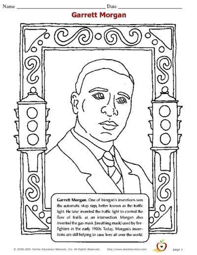 Garret Morgan Coloring Page Black History Month Activities Black History Month Projects Black History Printables
