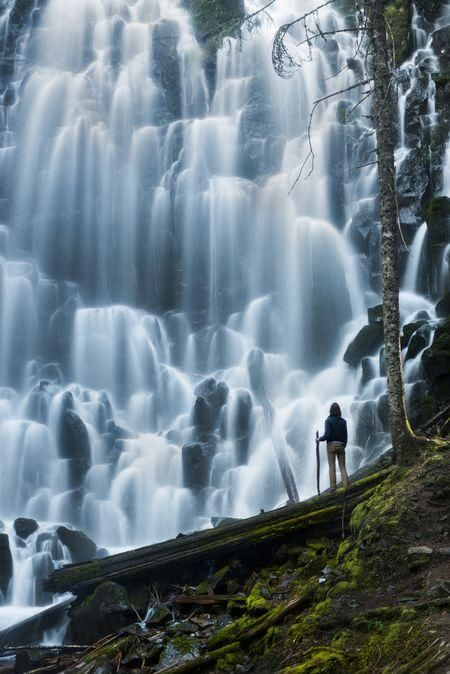 Ramona Falls, a majestic waterfall near Mt. Hood, Oregon.  Had to throw myself in there, just for a sense of scale!
