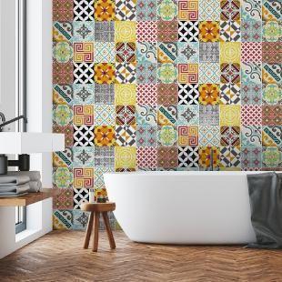 15 Stickers Carrelages Azulejos Mosaique Multicolore Stickers