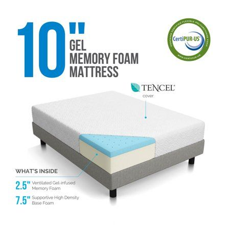 Lucid 10 Dual Layered Gel Memory Foam Mattress Twin Walmart Com Memory Foam Mattress Foam Mattress Mattress