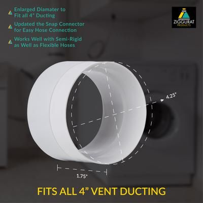 Snap To Vent Straight Quick Connect Dryer Stv S Ziggurat Products Dryer Vent Hose Best Dryer Laundry In Bathroom
