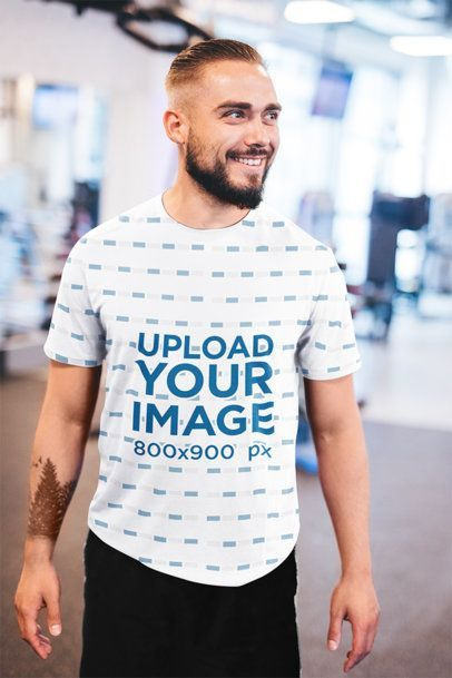 Download Placeit Sublimated T Shirt Mockup Of A Happy Bearded Man At The Gym Shirt Mockup Tshirt Mockup How To Make Logo